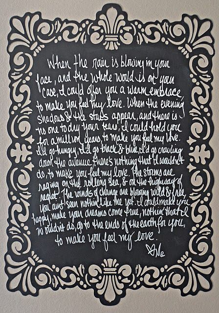 To Make You Feel My Love Lyrics Going On Our Baby S Nursery Wall
