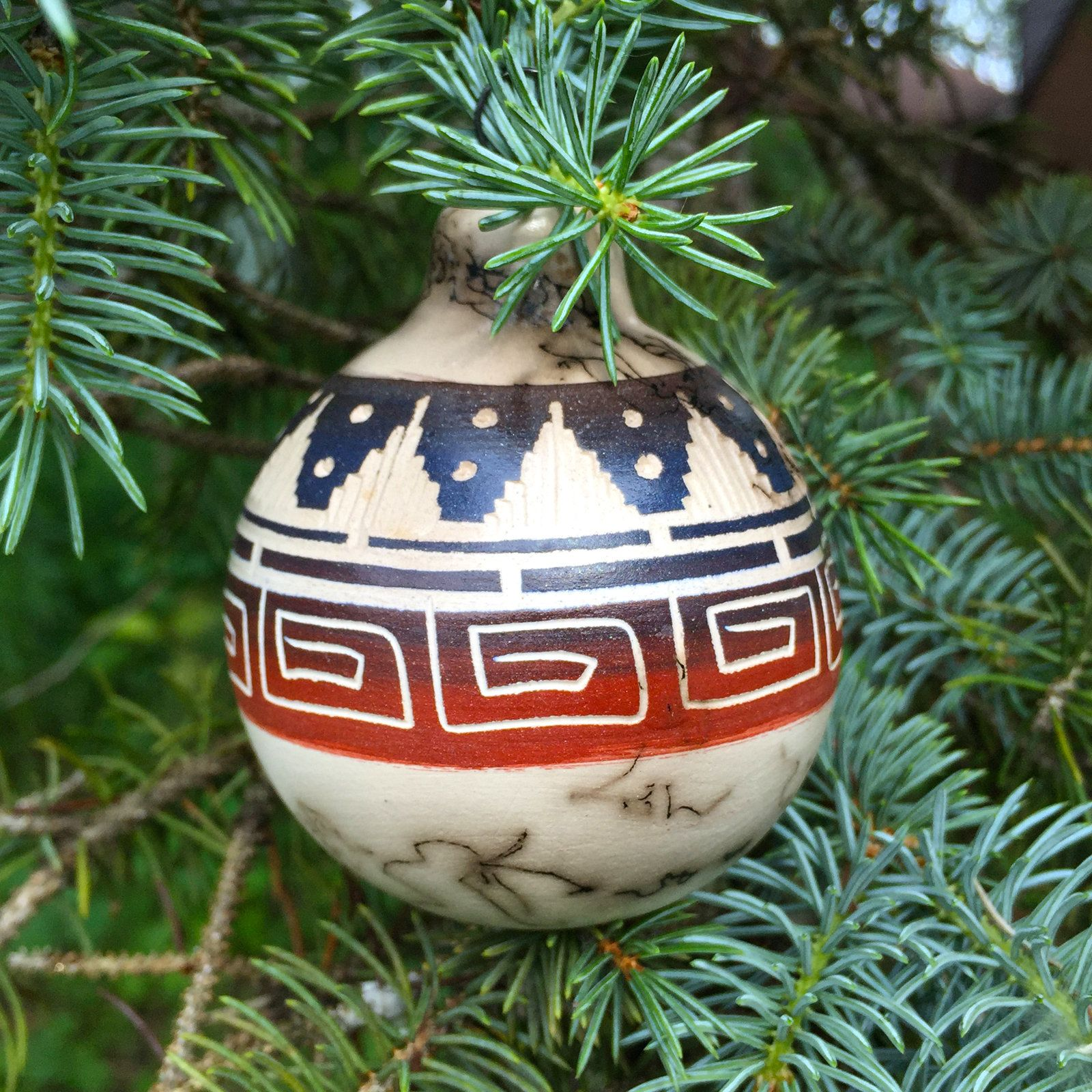 Native American Authentic Etched Horsehair Pottery Navajo  Ceramic Ornament