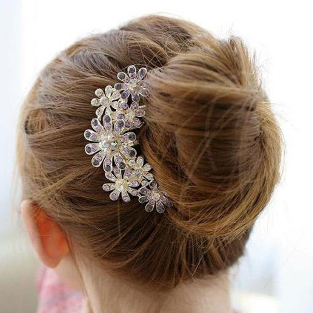 amazon: beautiful jewelry flowers crystal hair clips - for