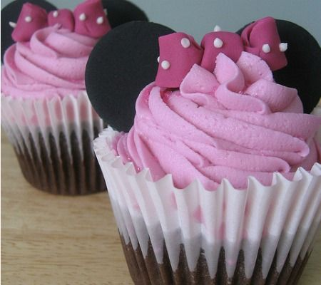 """CAKE: Pretty In Pink """"These delicious looking raspberry swirl Minnie Mouse pretties look easy enough to make or have made at your local bakery. I love the chocolate brown, cream and raspberry together."""""""