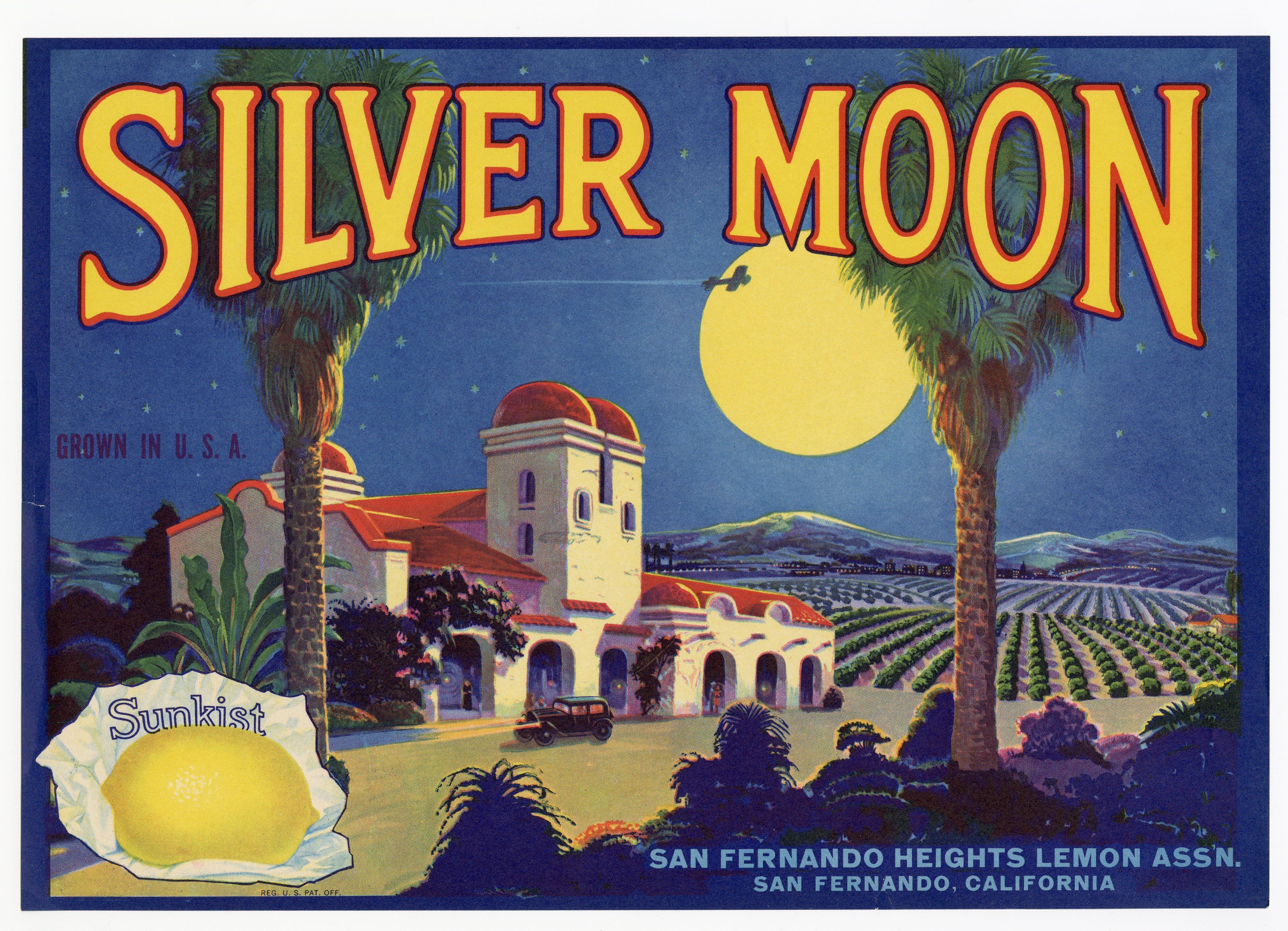 Vintage, Unused SILVER MOON Lemon Fruit Crate Label || San Fernando, Ca.