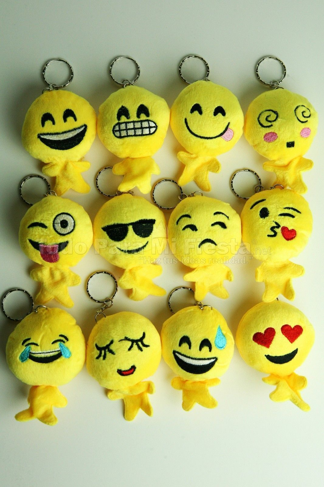 Details About 12 Pc EMOJI KEY CHAINS EMOTIONS PLUSH PARTY FAVORS