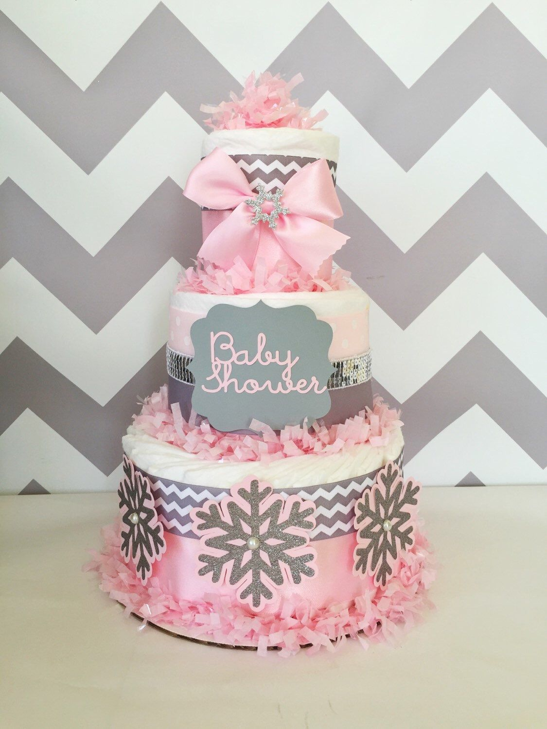Chevron Winter Baby Shower Centerpiece In Pink And Gray, Winter Baby Shower  Diaper Cake,
