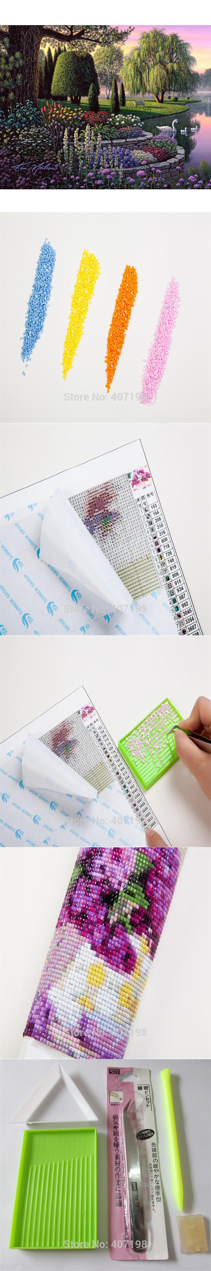 Diy 3D Diamond painting Mosaic Diamond Embroidery cross stitch pattern Full square Needlework Crafts Spring scenic Home decor $28