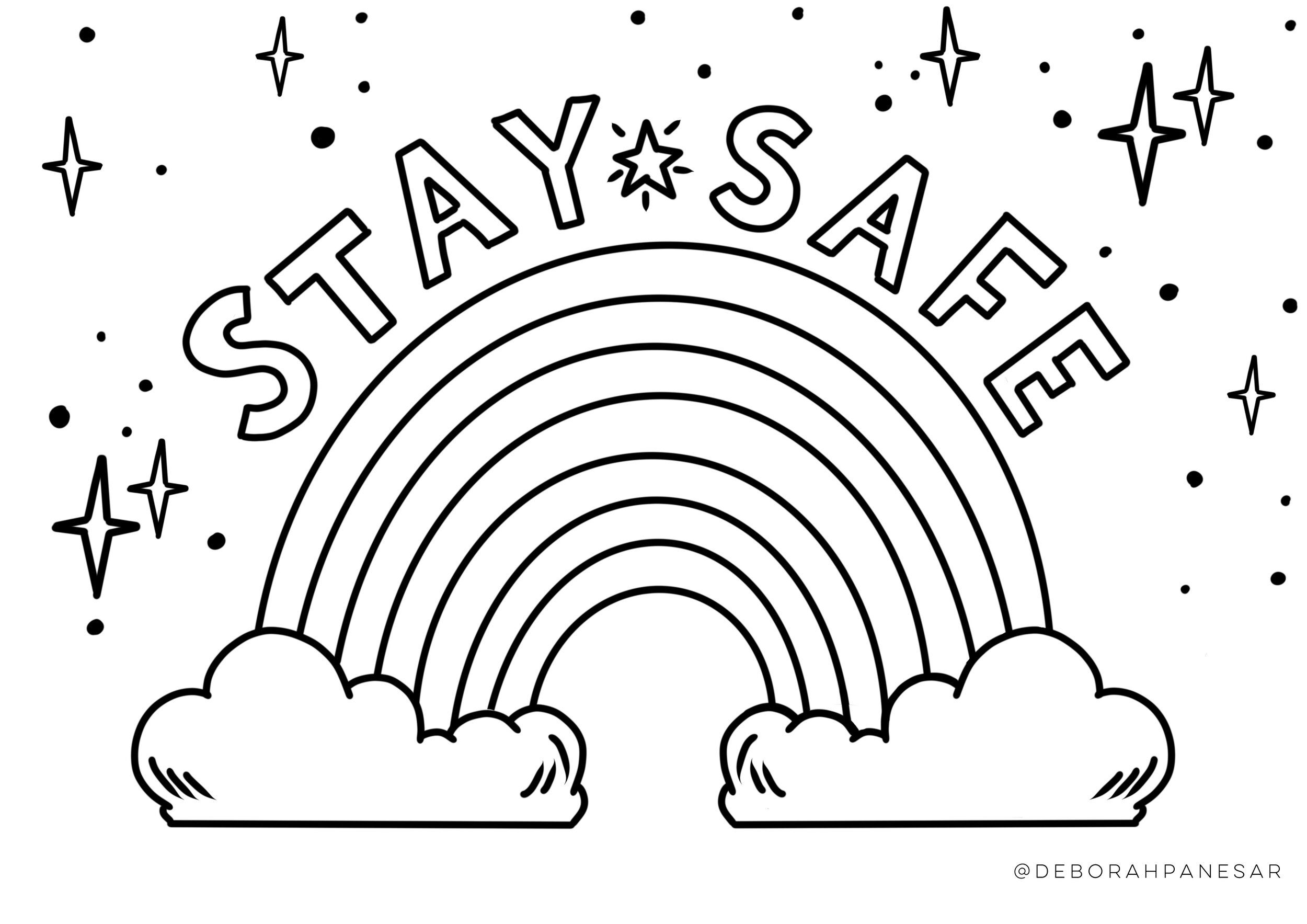 Stay Safe Rainbow Printable Colouring Page In