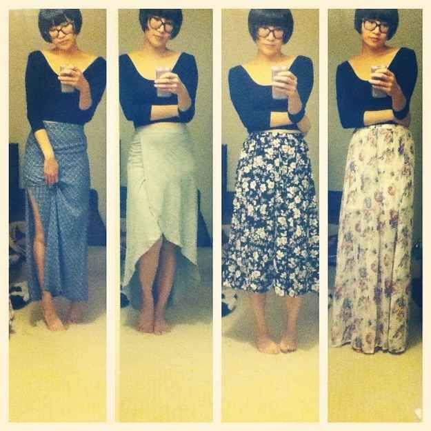 ...and every skirt becomes a maxi skirt. | 30 Awkward Moments Every Short Girl Understands