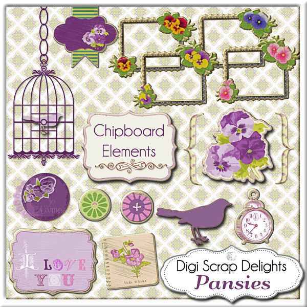 Vintage Pansies Frames Bird Bird Cage Buttons by DigiScrapDelights