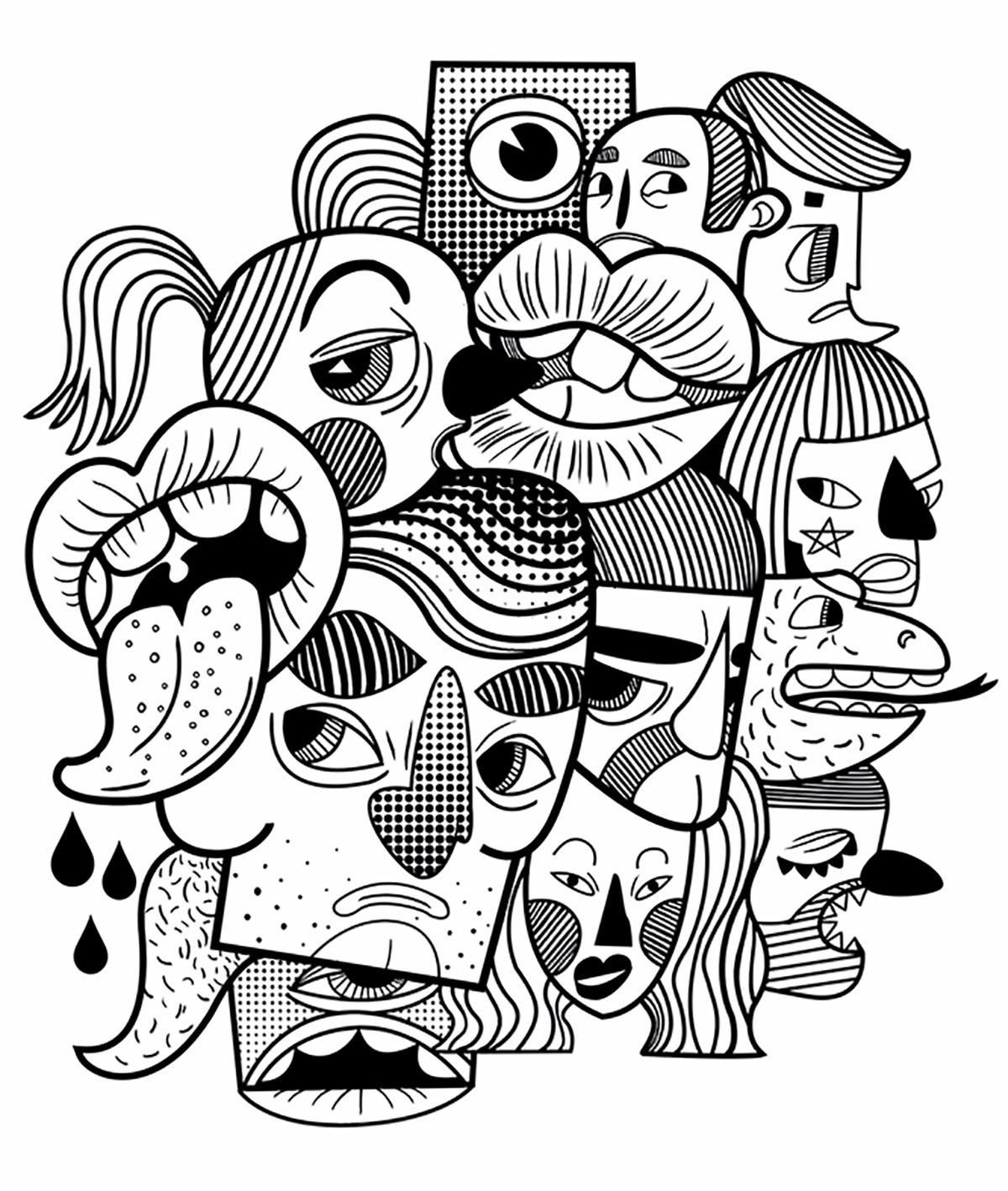 line illustration of faces