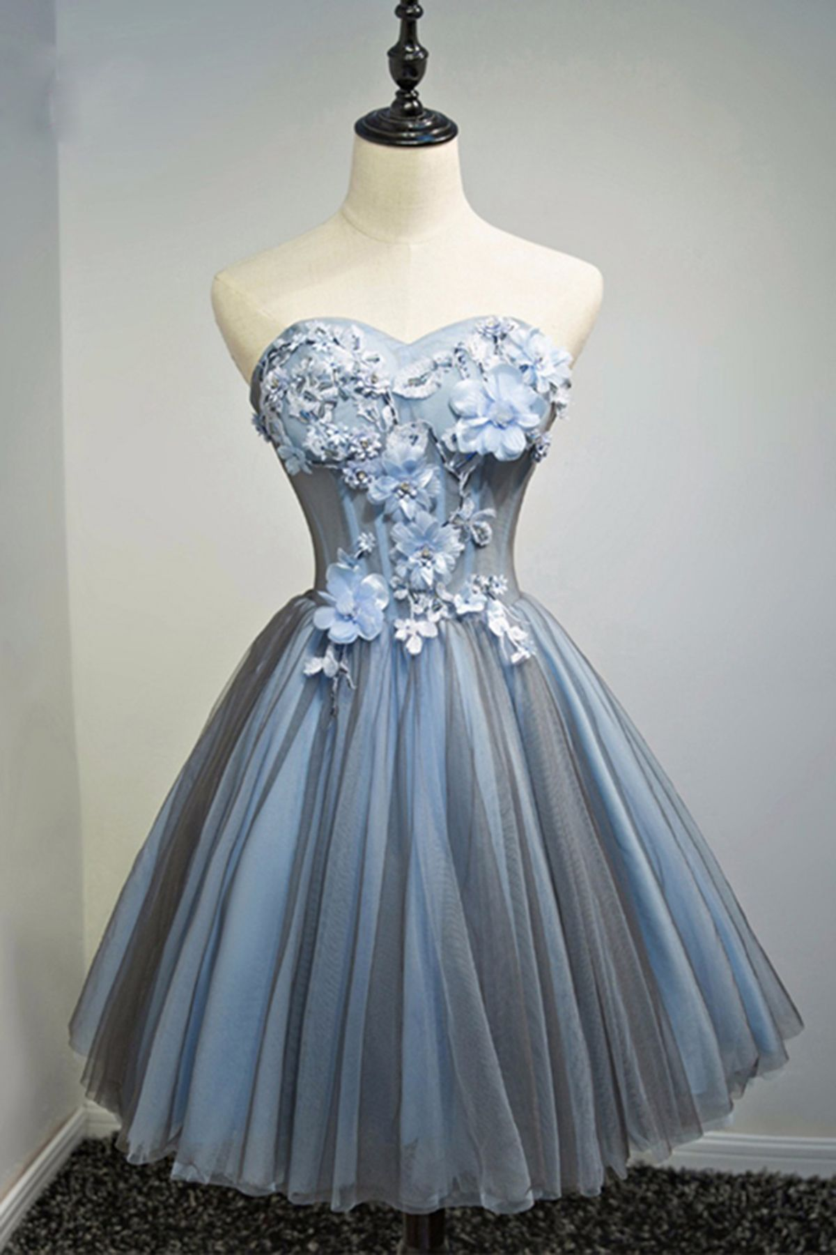 ee327c92b5c Blue gray strapless short 3D flower prom dress