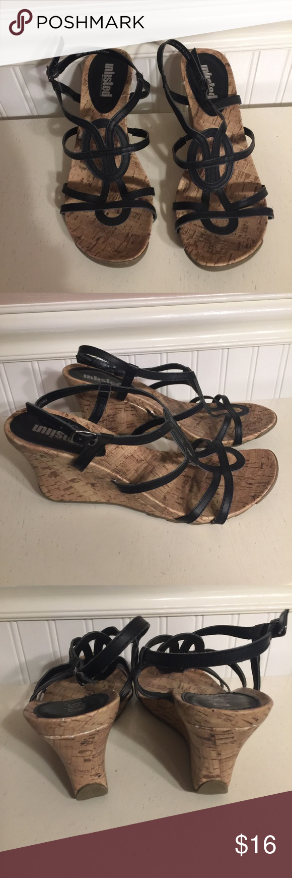 Black wedged Only worn once, wedge measures 3 1/2 inches, comfortable and durable for s night out, comes from a smoke/ pet free home ✅FAST SHIPPING✅ Unlisted Shoes Wedges