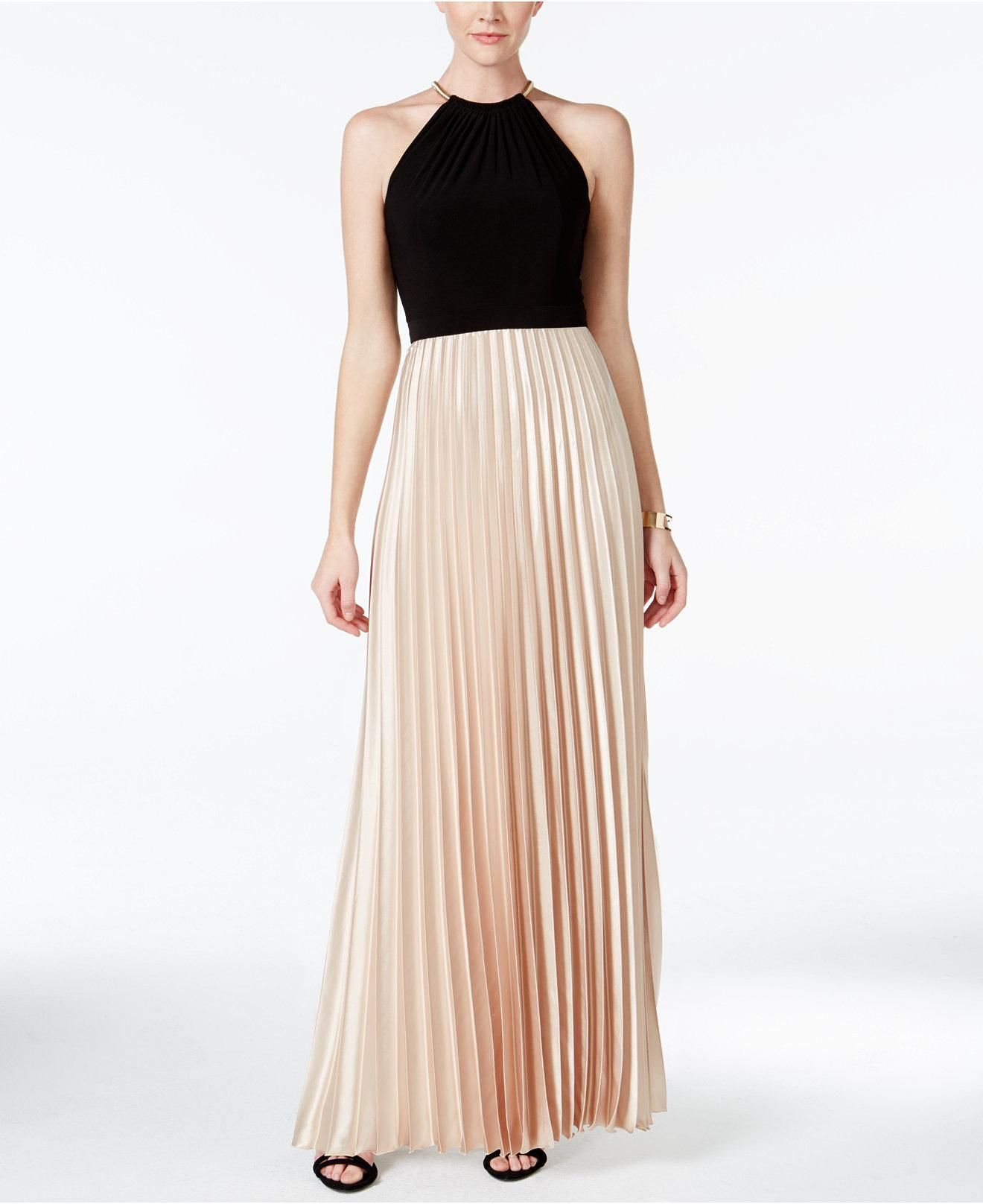 X by Xscape Colorblocked Pleated Halter Gown   Greco-Roman Goddess ...
