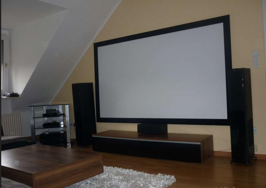 Beamer wohnzimmer Installation Zimmer mit Kinoleinwand ...