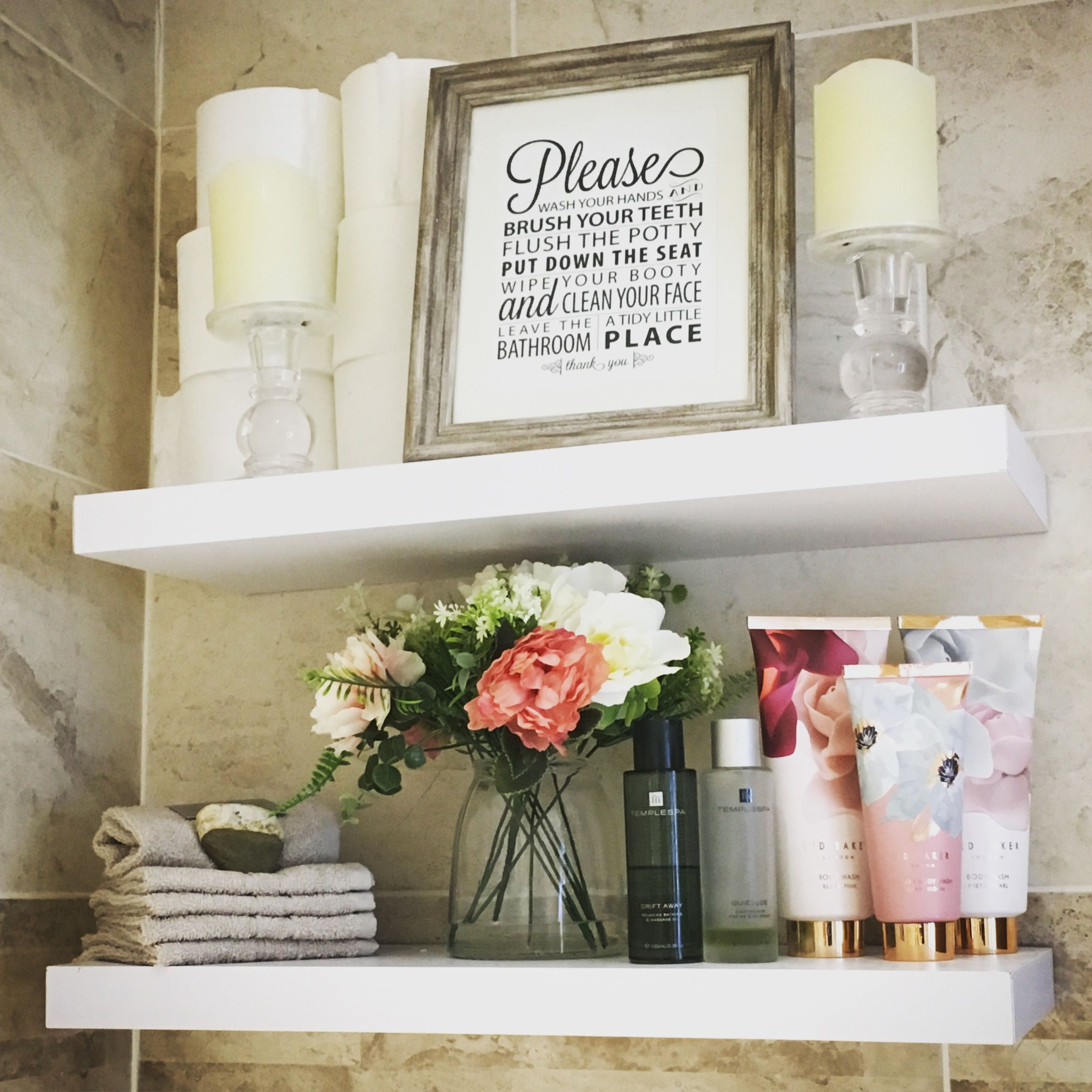 Bathroom Shelving Idea Perfect For Prettying Up The Bathroom And Coming In Handy For Savvy Storage Too Candles Frame Flowers From T Cheap Bathroom Makeover Storage Shelves Best Bathroom Tiles