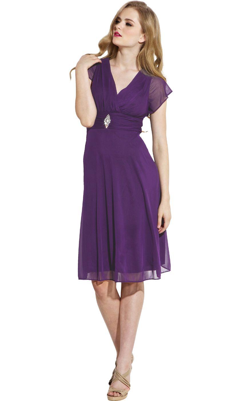 Short Sleeve Mesh Knee-Length Bridesmaid Dress $79.99 | Wedding ...