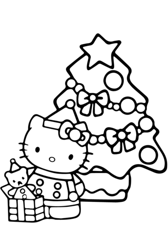 Hello Kitty Christmas Coloring page | Ideas 4 kids & babies | Pinterest