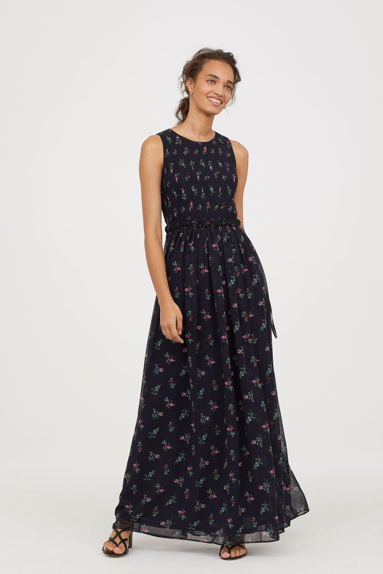 Donkerblauwe Maxi Jurk.Maxi Jurk Van Chiffon H M Chiffon Dress Long Dresses En Chiffon