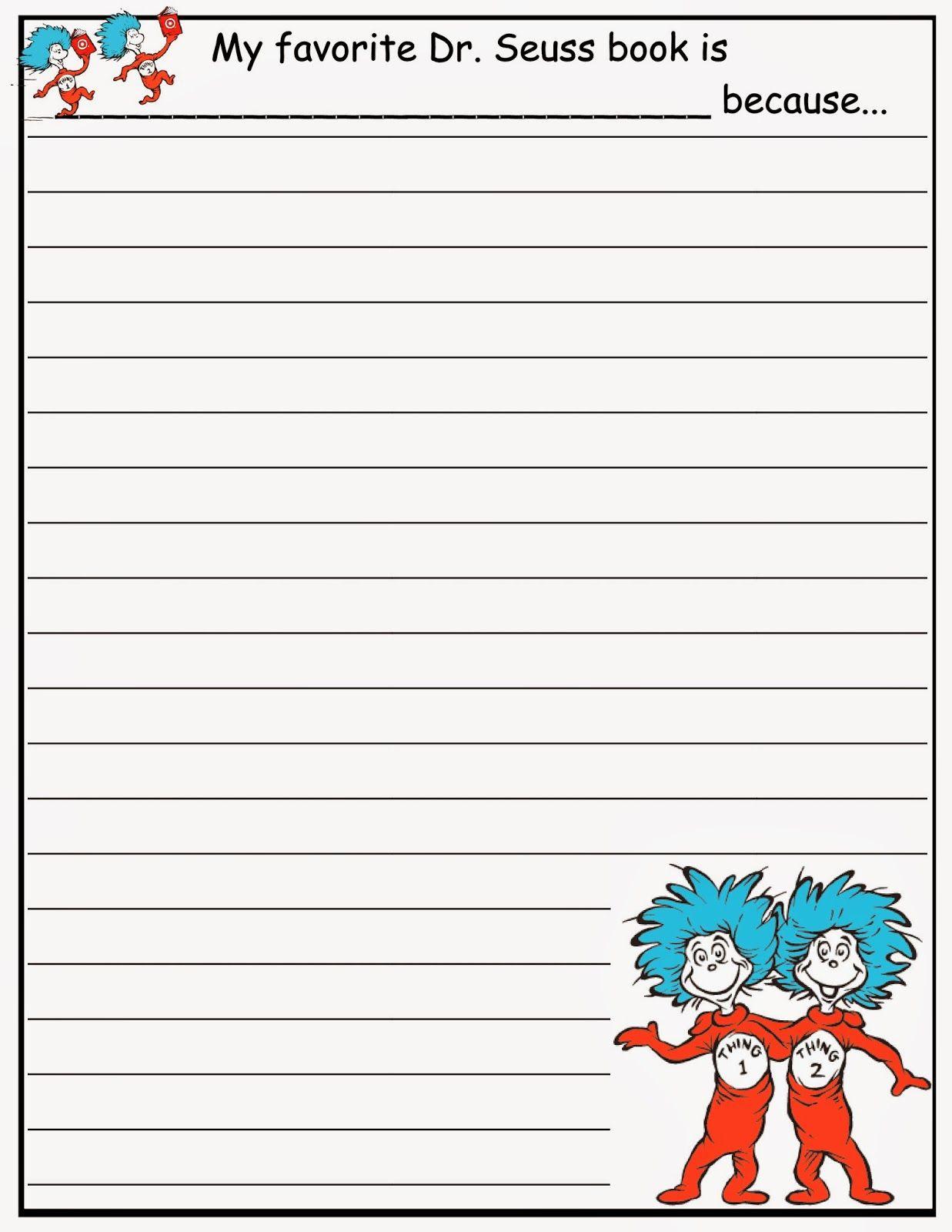 Scrap N Teach Dr Seus Writing Paper Free Activitie Classroom Essay