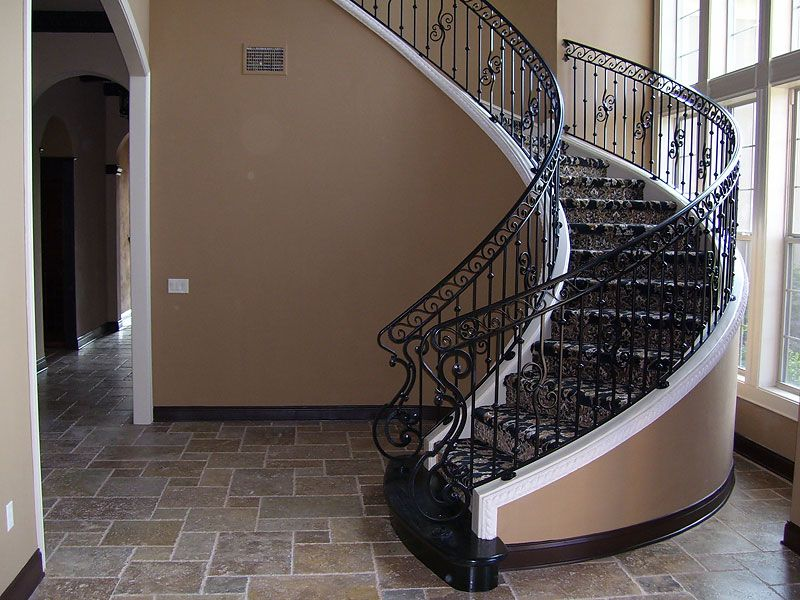 Curved Stair Railing With Forged Grill World Pinterest