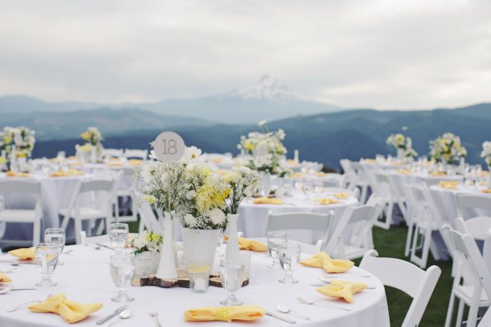 Yellow Grey Breathtaking Mountain Views Rustic Chic Wedding