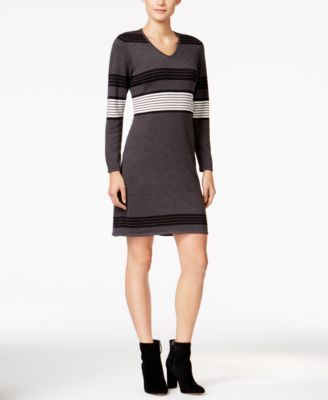 NY Collection Petite Striped Sweater Dress | macys.com