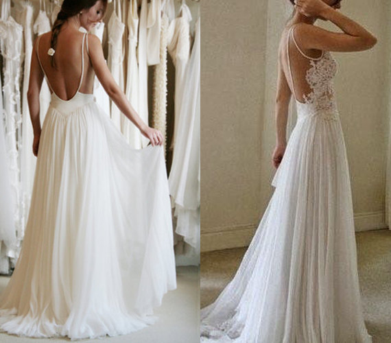 Custom made ivory backless wedding gown low by for Backless bohemian wedding dress
