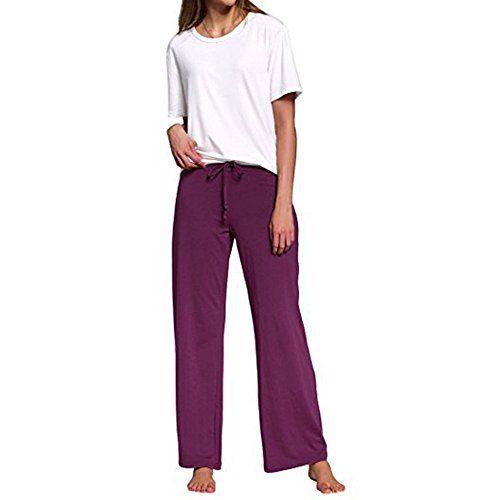 Sunenjoy Pantalon Large Femme Été Léger Ample Elastique d intérieur Jogging  Détente Yoga Pants Chic 9ad5f76ed54