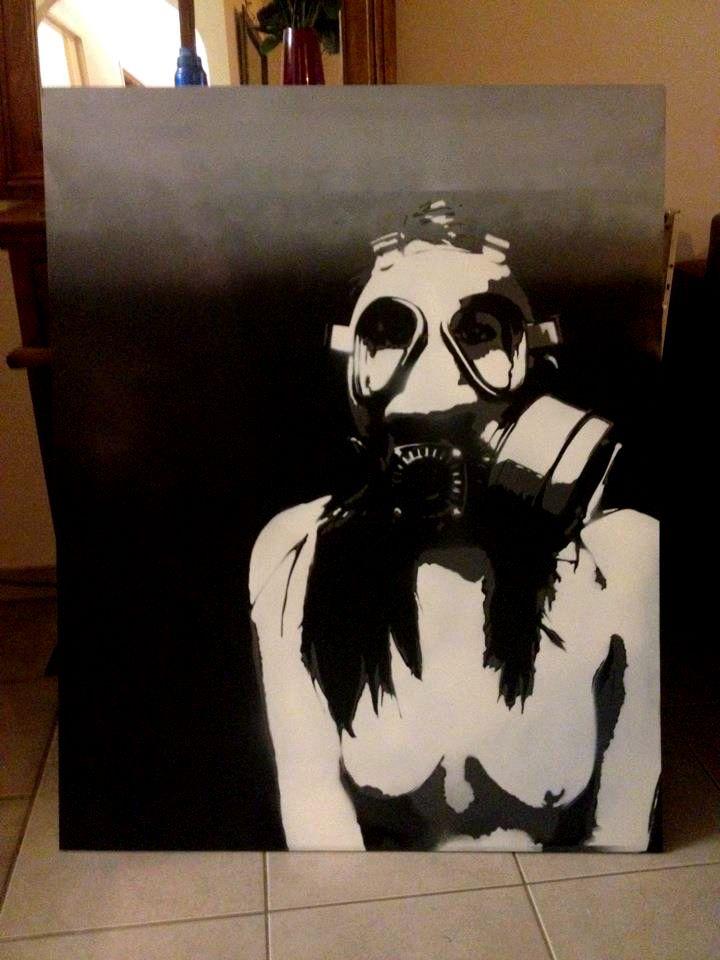 Gas Mask, Girl in a Gas Mask, Stencil, Graffiti, by ...