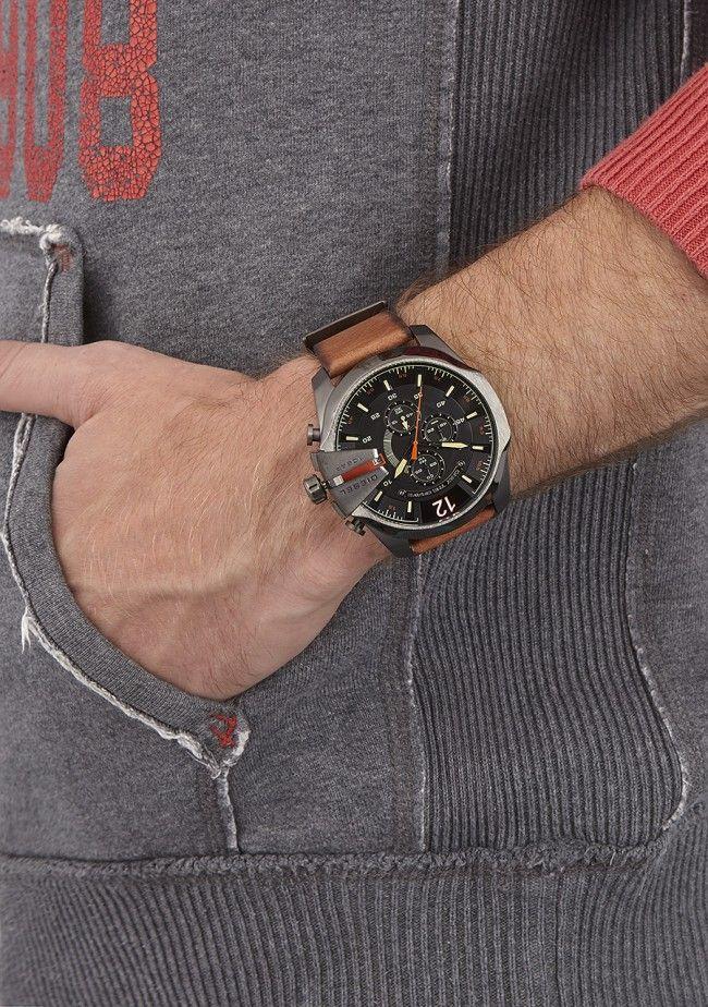 521835a54 Shop for Diesel DZ4343 Mega Chief Black Dial Brown Leather Men's Quartz  Watch