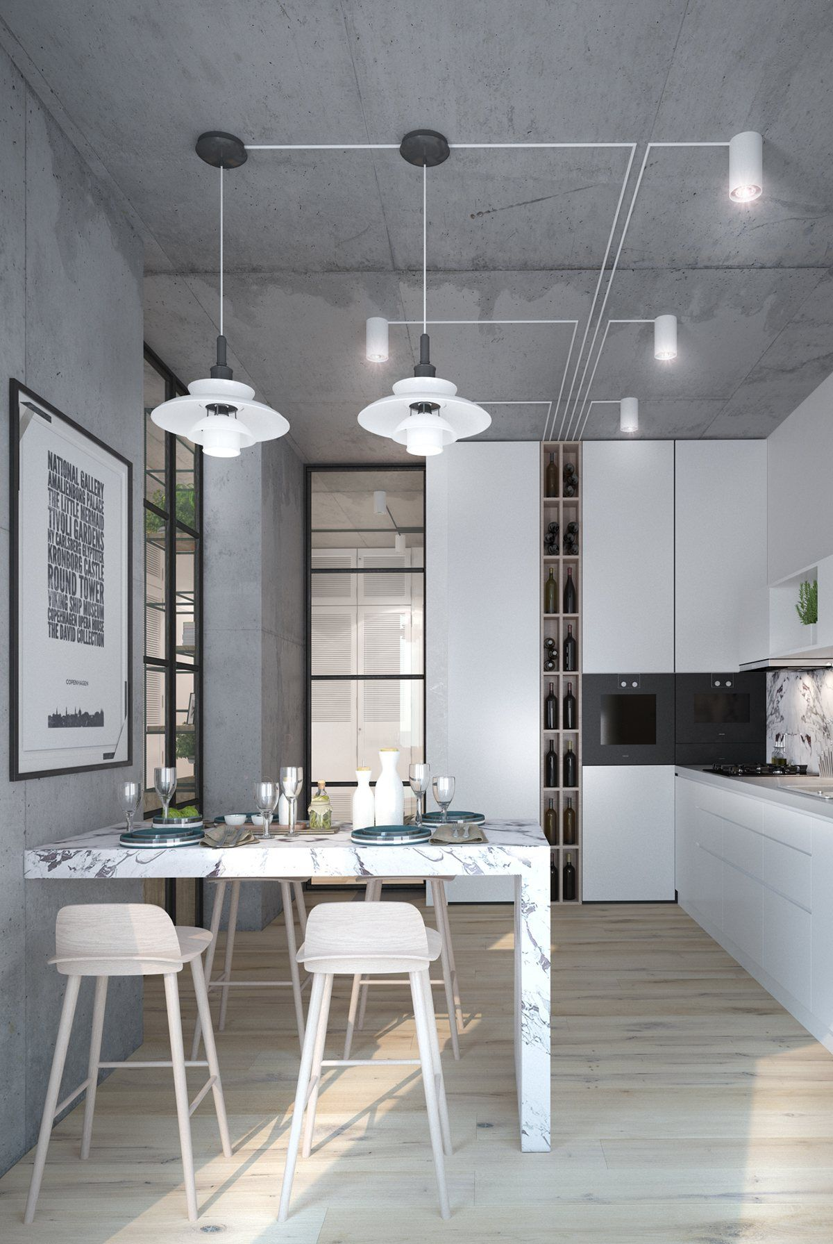 Küche Fliesen Petrol 3 Inspiring Homes With Concrete Ceilings And Wood Floors
