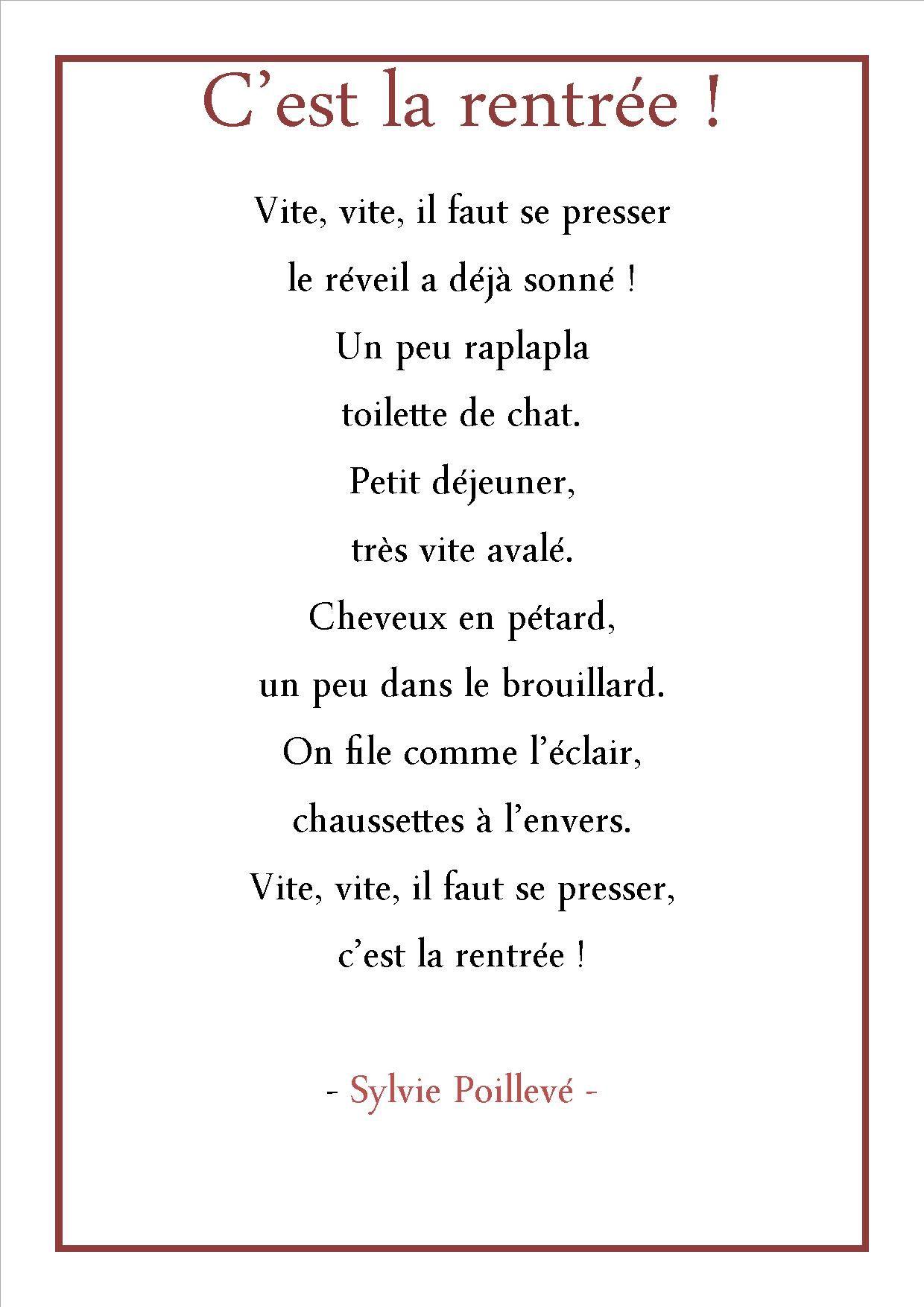 Poésie Cest La Rentrée Sylvie Poillevé Google Search