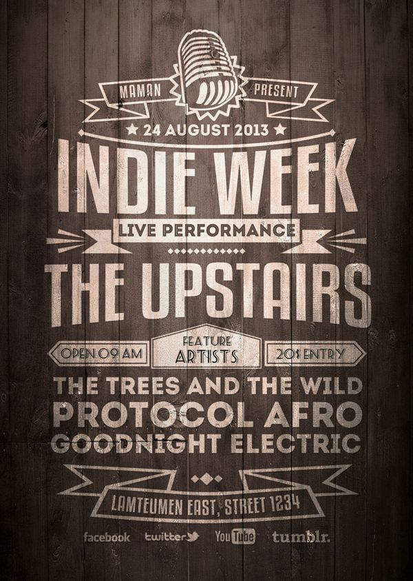 Flyer Lettering Idea   Indie Typography FlyerPoster  Dudu