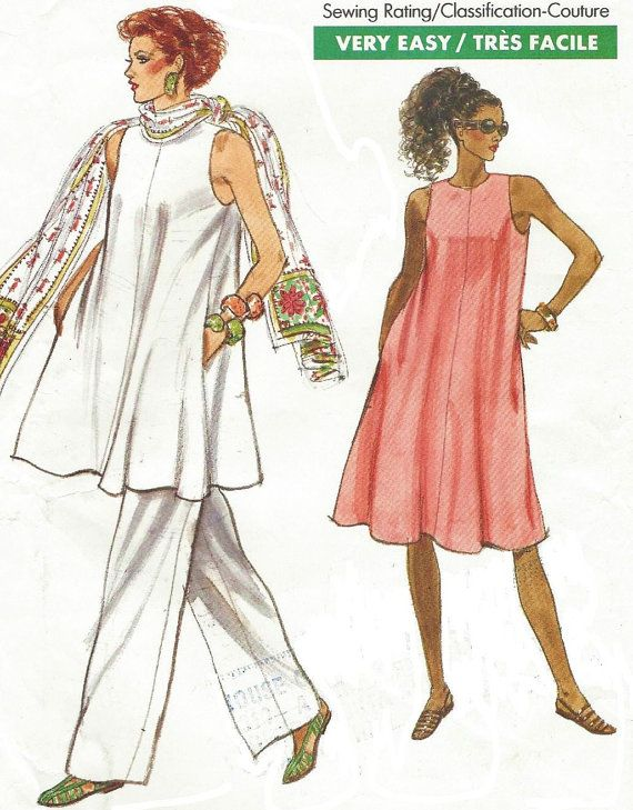 80s Vogue Sewing Pattern 7544 Womens Tent Dress or Tunic & Pants ...