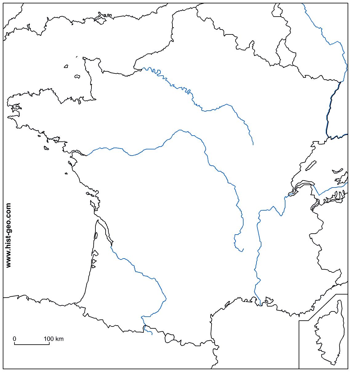 carte de france fleuves vierge