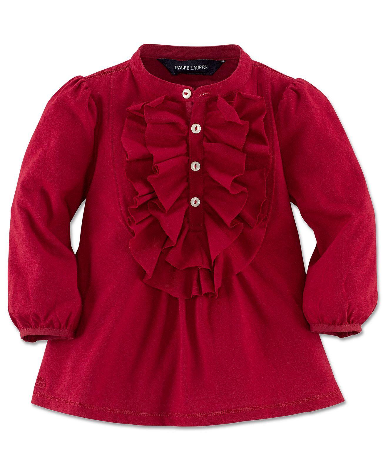 Ralph Lauren Baby Shirt Baby Girls Ruffle Cotton Top Kids Baby
