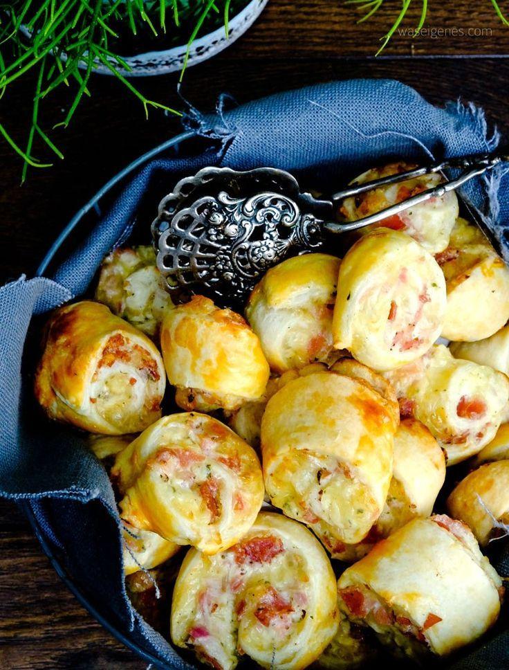 Schnelles Party Rezept: Blätterteigschnecken mit Schinken, Salami und Käse #cremepuff