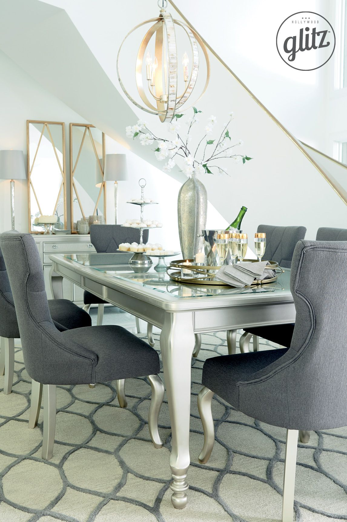 Think Gold And Silver Accents Curvy Chairs Chic Lines For The Perfect Dining Room Look Hollywood Glitz Signature Design By Ashley Furniture