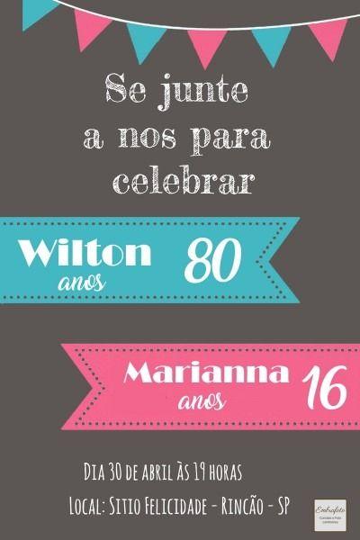 Convite De Aniversario Duplo Mae E Filha Com Imagens Convite