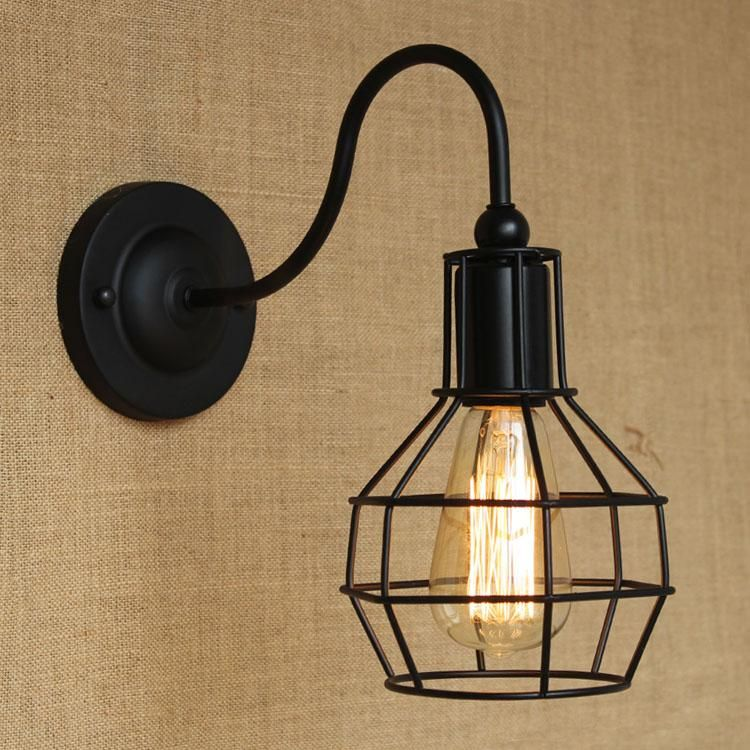 Retro cute black small cages wrought iron lantern wall light retro cute black small cages wrought iron lantern wall light edison bulb fixtures indoor lighting fast delivery mozeypictures Gallery