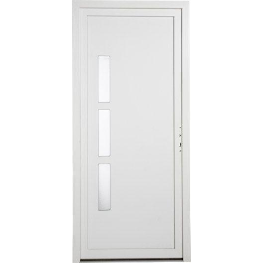 Porte Entrée Maison PVC Manhattan PRIMO Blanc Poussant Droit H - Porte de garage sectionnelle avec portes de service pvc