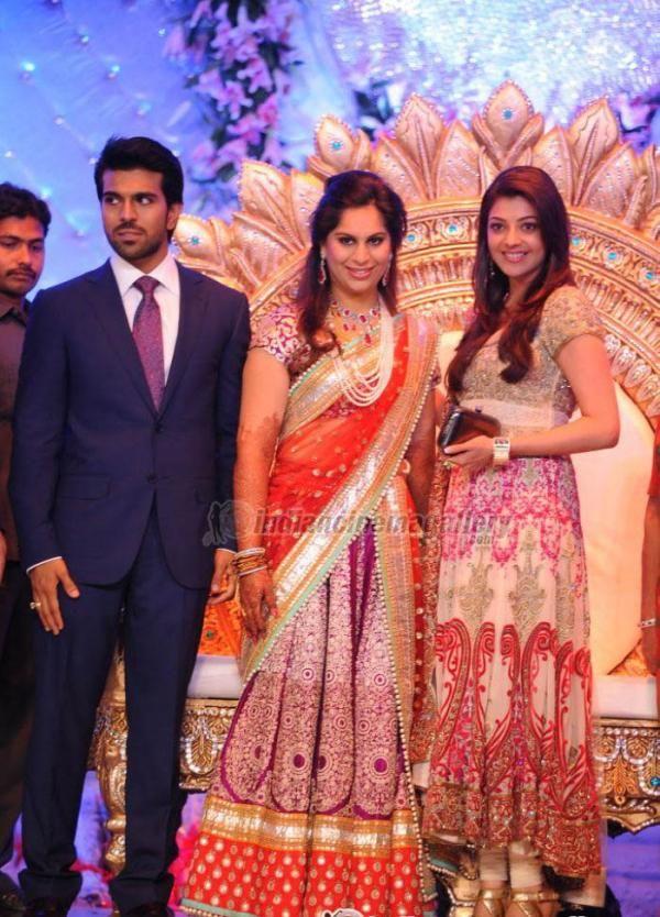 kajal aggarwal at ram charan teja wedding reception