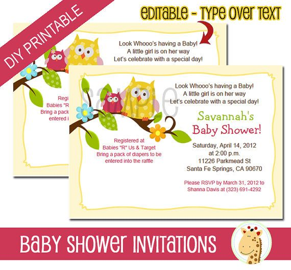 Yellow Happy Tree Owls Baby Shower or Birthday by AllPetsCherished, $12.00. Super cute invitation features a yellow and pink owl with editable text. Simply purchase, open in Adobe and type your own wording over the sample wording. Save and print! Easy DIY invitations available as an instant download file.