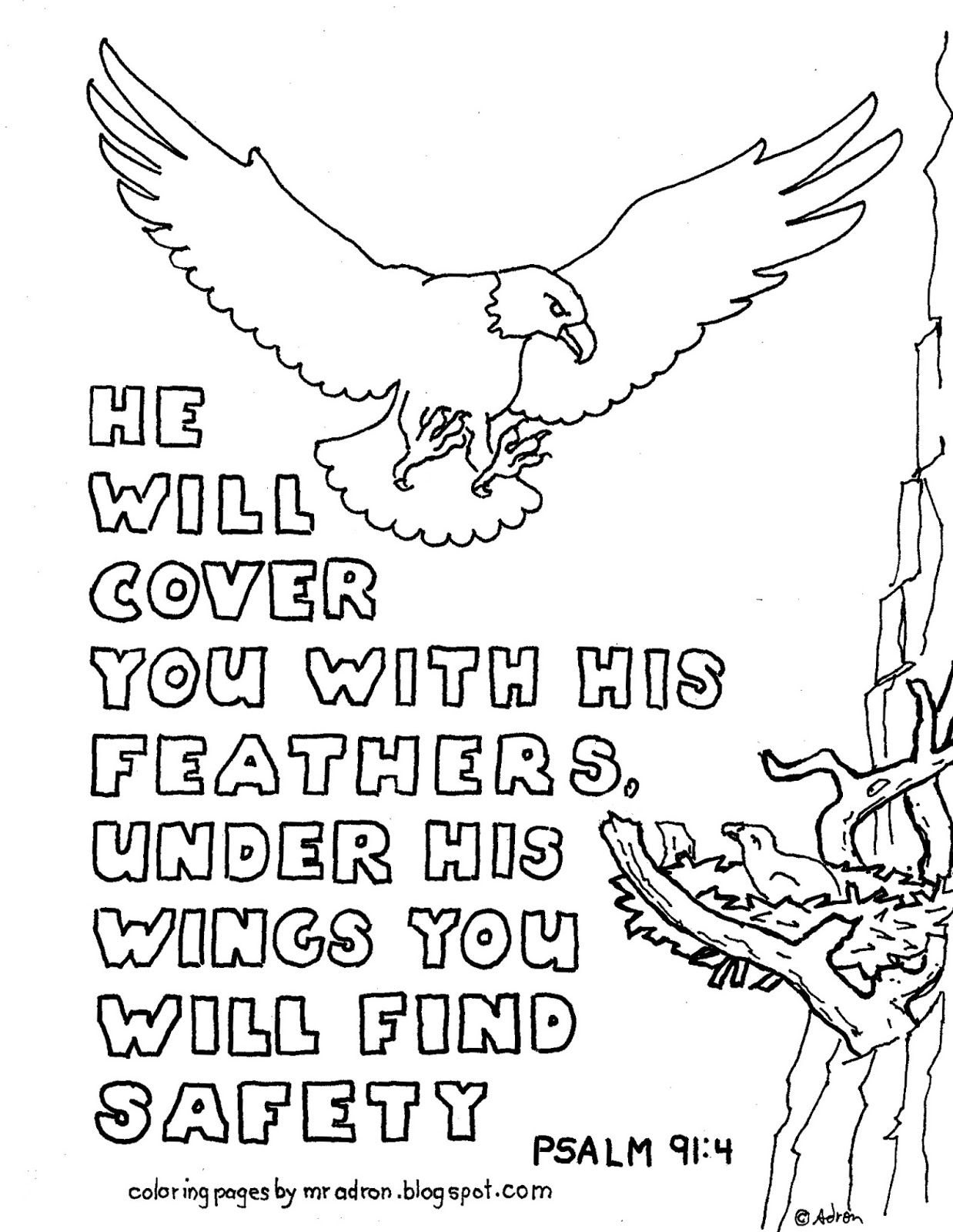 Coloring Pages For Kids By Mr Adron Printable Coloring Page Psalm 91 4 He Will Co Bible Verse Coloring Page Bible Verse Coloring Sunday School Coloring Pages
