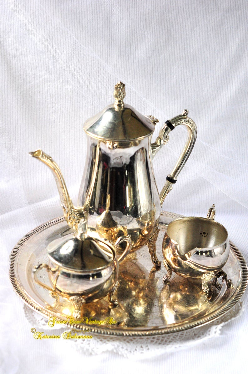 Vintage Silver plated England Metal Coffee Tea Service