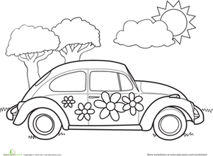 VW Bug Coloring Page Worksheets Adult coloring and Coloring books