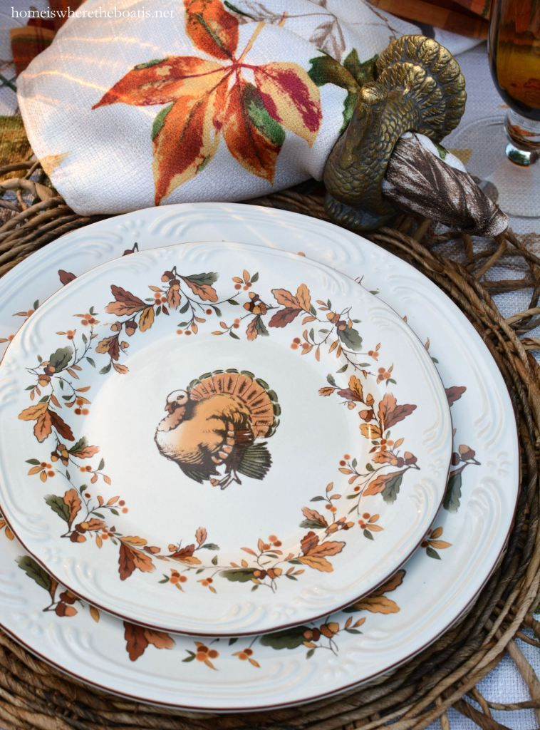 Scattered Leaves Turkeys and Pfaltzgraff Autumn Berry Dinnerware | homeiswheretheboatis.net #Thanksgiving & Scattered Leaves Turkeys and Pfaltzgraff Autumn Berry Dinnerware ...
