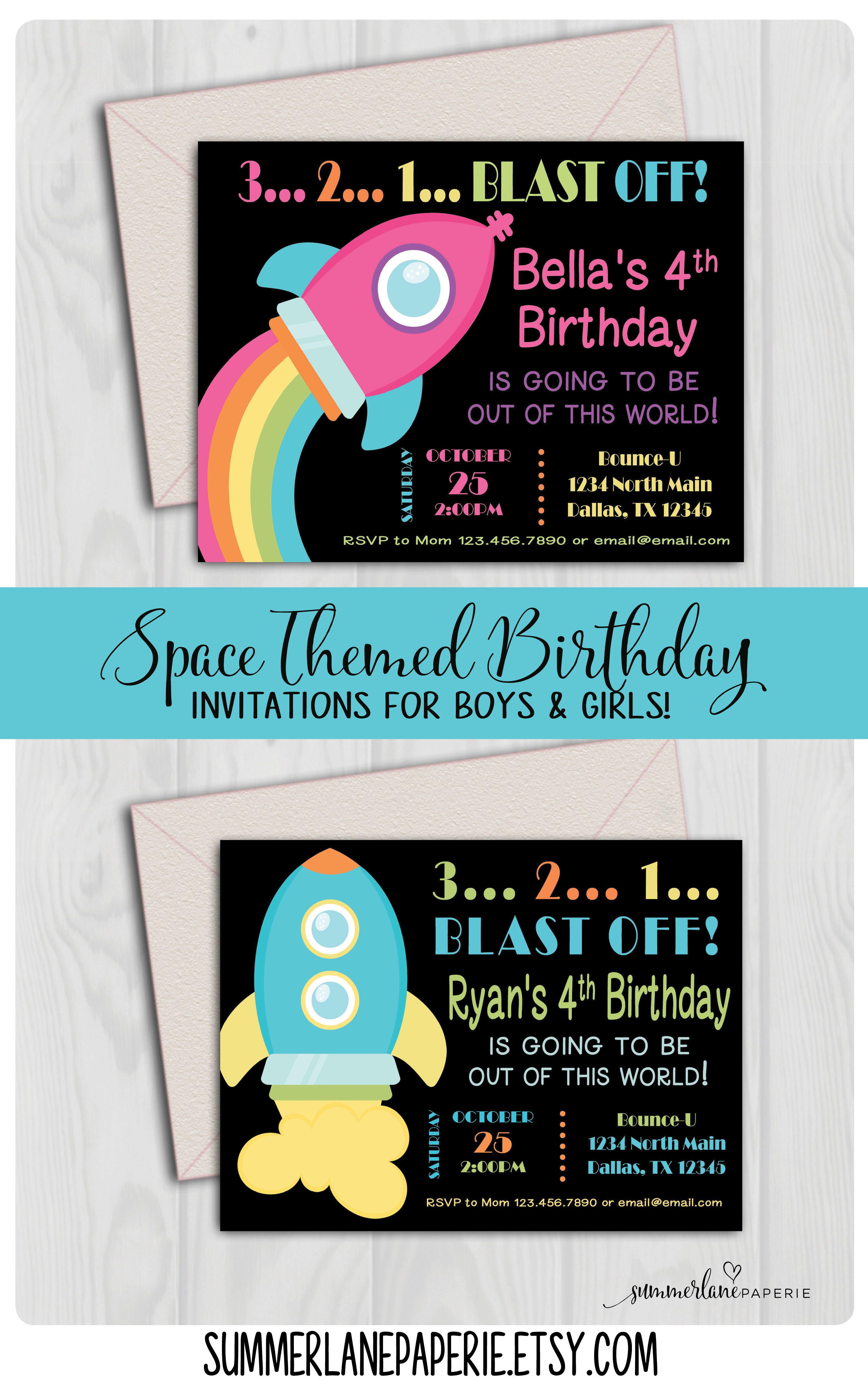 plan a party that is out of this world with these space themed invitations and printables