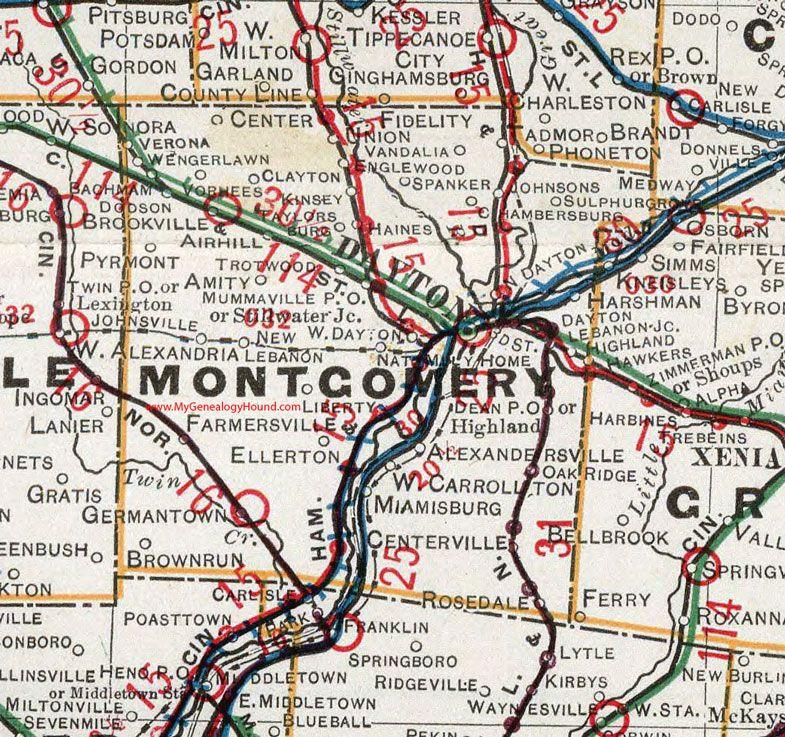 Montgomery County Ohio 1901 Map Dayton Vandalia Englewood Miamisburg Centerville Farmersville Germantown New Lebanon B Map County Montgomery County