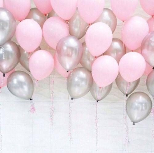 Pink Birthday Balloons pink silver Birthday Decorations Hen | Etsy