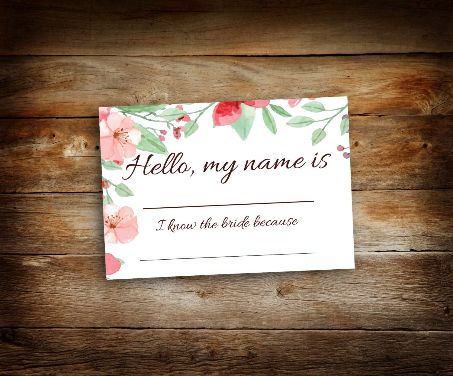 bridal shower name tags - guest name tags - i know the bride because - flower name tags
