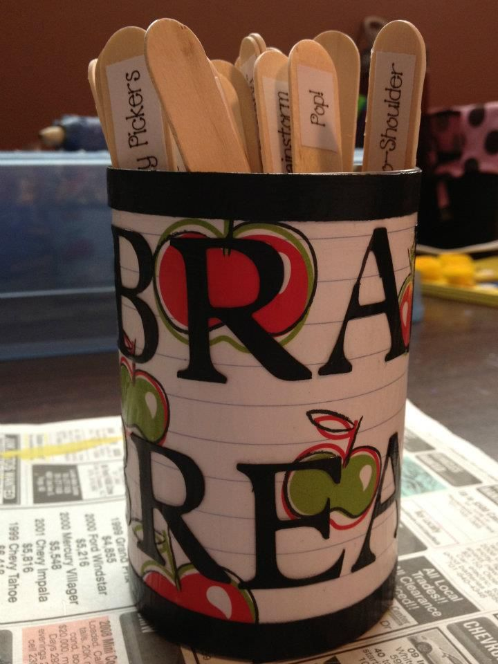 Brain Breaks! Thanks to a generous teacher you can get the Brain Breaks file for free! I used Mod Podge to attach them to the sticks and decorated a tin can for them!